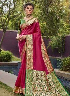Woven Work Crimson and Green Designer Contemporary Saree