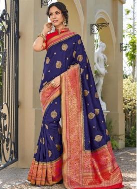Woven Work Designer Contemporary Saree For Bridal