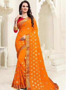 Woven Work Faux Georgette Contemporary Style Saree