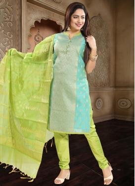 Woven Work Firozi and Mint Green Readymade Churidar Salwar Suit