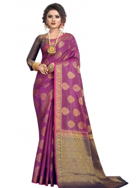 Woven Work Fuchsia and Navy Blue Designer Contemporary Saree