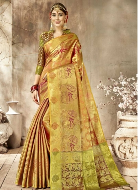 Woven Work Gold and Peach Designer Contemporary Style Saree