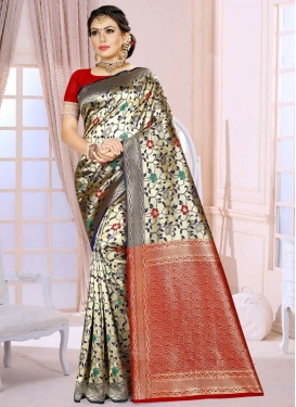 Woven Work Gold and Red Trendy Classic Saree