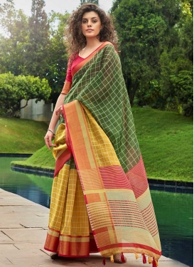 Woven Work Green and Mustard  Designer Traditional Saree