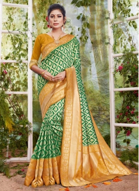Woven Work Green and Mustard Trendy Classic Saree