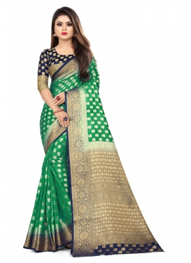 Woven Work Green and Navy Blue Designer Contemporary Saree