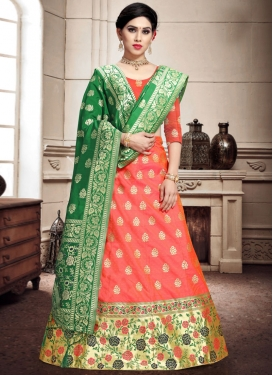 Woven Work Green and Orange A - Line Lehenga