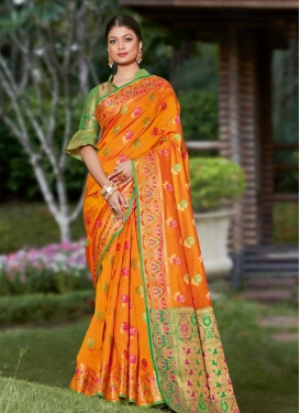 Woven Work Green and Orange Contemporary Style Saree