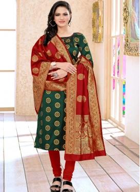 Woven Work Green and Red Cotton Silk Churidar Salwar Kameez