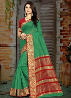 Woven Work Green and Red Designer Contemporary Saree