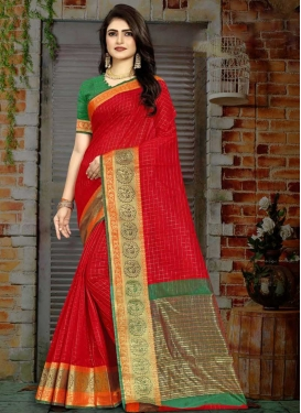 Woven Work Green and Red Designer Traditional Saree