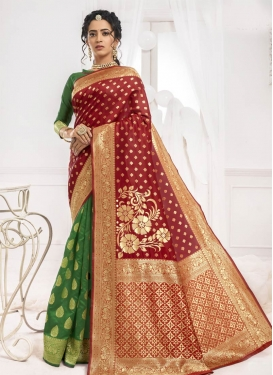 Woven Work Green and Red Half N Half Designer Saree
