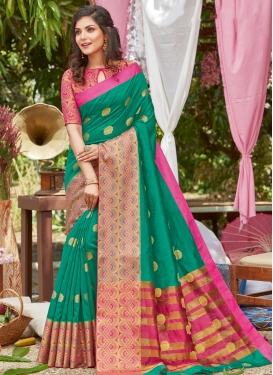 Woven Work Green and Rose Pink Designer Contemporary Saree