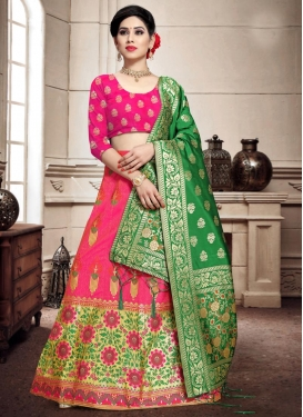 Woven Work Green and Rose Pink Trendy A Line Lehenga Choli