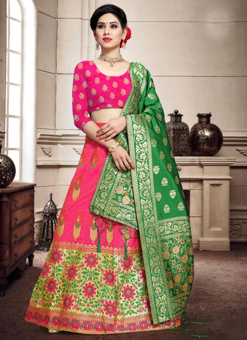 Woven Work Green and Rose Pink Trendy A Line Lehenga Choli