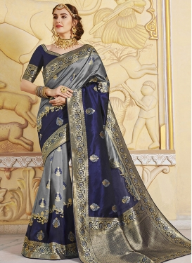 Woven Work Grey and Navy Blue Designer Contemporary Saree