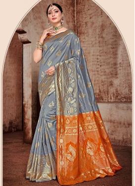 Woven Work Grey and Orange Designer Traditional Saree