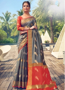 Woven Work Grey and Red Designer Contemporary Style Saree