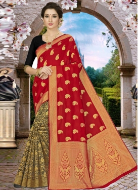 Woven Work Half N Half Designer Saree
