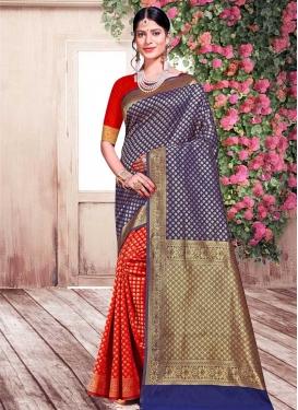 Woven Work Half N Half Trendy Saree