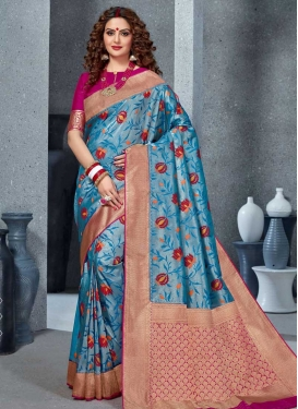 Woven Work Handloom Silk Contemporary Style Saree