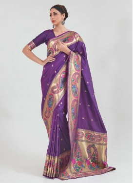 Woven Work Handloom Silk Designer Traditional Saree For Ceremonial