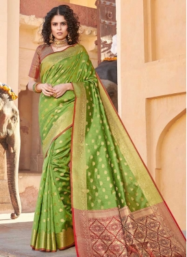 Woven Work Handloom Silk Olive and Red Designer Contemporary Saree