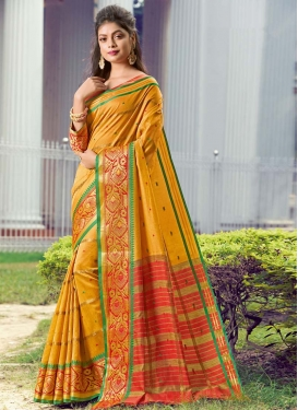 Woven Work Handloom Silk Trendy Classic Saree For Casual