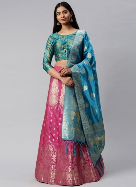 Woven Work Hot Pink and Light Blue Jacquard Silk Trendy Lehenga Choli