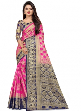 Woven Work Hot Pink and Navy Blue Designer Traditional Saree