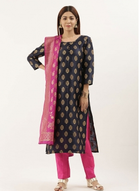 Woven Work Hot Pink and Navy Blue Pant Style Classic Salwar Suit