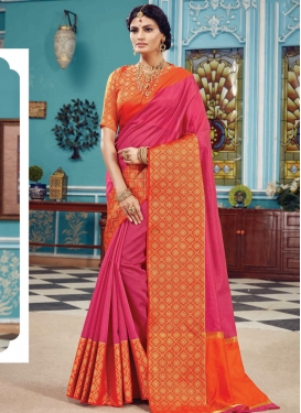 Woven Work Hot Pink and Orange Traditional Designer Saree