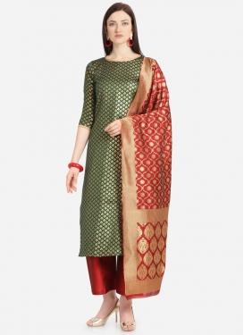 Woven Work Jacquard Palazzo Style Pakistani Salwar Suit
