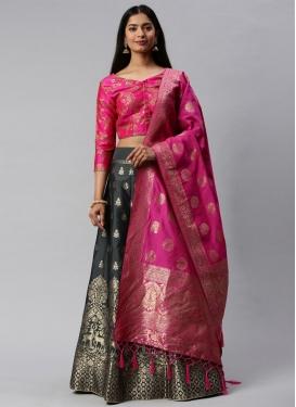 Woven Work Jacquard Silk A - Line Lehenga