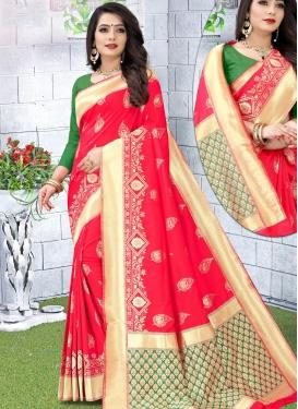 Woven Work Jacquard Silk Designer Contemporary Style Saree