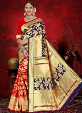 Woven Work Jacquard Silk Navy Blue and Red Classic Saree