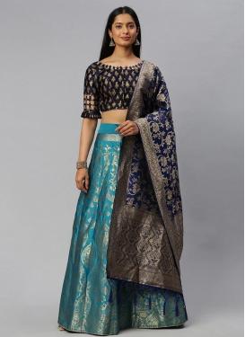 Woven Work Jacquard Silk Navy Blue and Teal Designer A Line Lehenga Choli