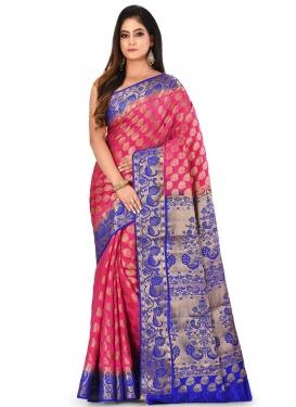 Woven Work Kanjivaram Silk Blue and Hot Pink Contemporary Style Saree