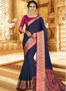 Woven Work Khadi Silk Traditional Designer Saree For Casual