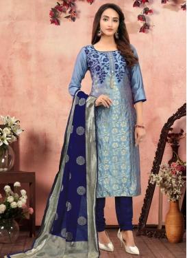 Woven Work Light Blue and Navy Blue Art Silk Trendy Pakistani Salwar Kameez