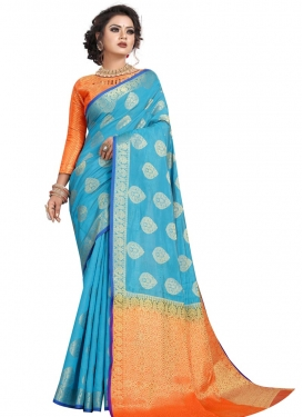 Woven Work Light Blue and Orange Trendy Classic Saree