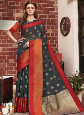 Woven Work Linen Designer Contemporary Saree