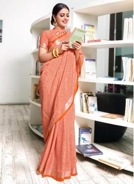 Woven Work Linen Designer Contemporary Saree For Casual