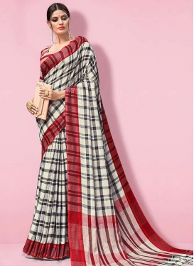 Woven Work Linen Off White and Red Designer Traditional Saree