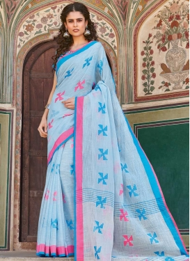 Woven Work Linen Traditional Designer Saree