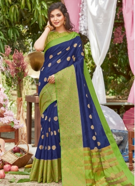 Woven Work Mint Green and Navy Blue Designer Traditional Saree