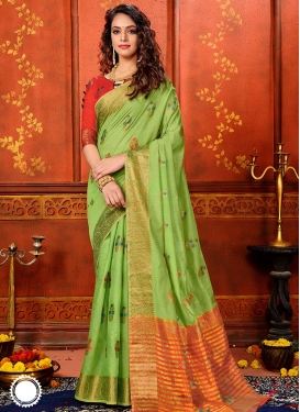 Woven Work Mint Green and Red Designer Contemporary Saree