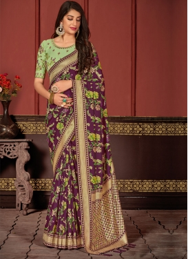 Woven Work Mint Green and Wine Designer Contemporary Style Saree
