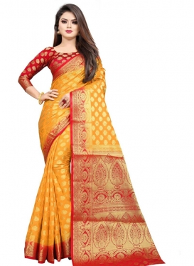 Woven Work Mustard and Red Designer Contemporary Saree