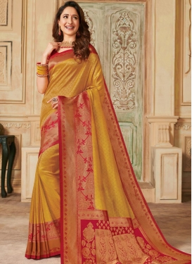 Woven Work Mustard and Red Designer Contemporary Style Saree